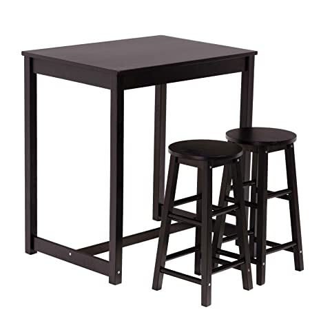 Mecor 3pc Dining Table Set Kitchen Table Set with 2 Counter Stools (Black)