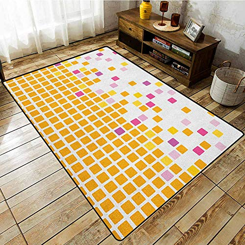 Rectangular Rug,Orange and Pink,Simple Mosaic Background Abstract and Geometric Modern Concept Graphic,Easy Clean Rugs ()