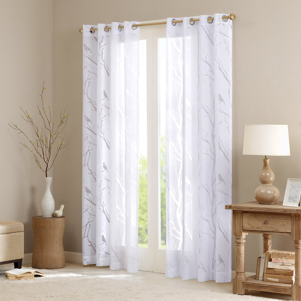 "Madison Park Averil Sheer Bird Window Curtain - White - 84"" Panel"