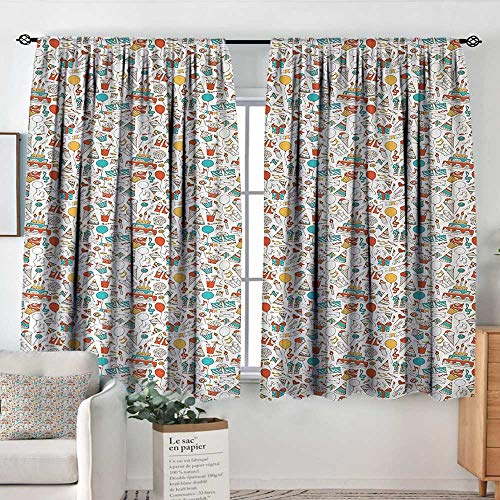 (Theresa Dewey Sliding Curtains Birthday,Boxes Garlands Music Notes Party Blowouts Cakes Candies Pie Party Hats,Aqua Orange Mustard,Thermal Insulated Light Blocking Drapes for Bedroom 42