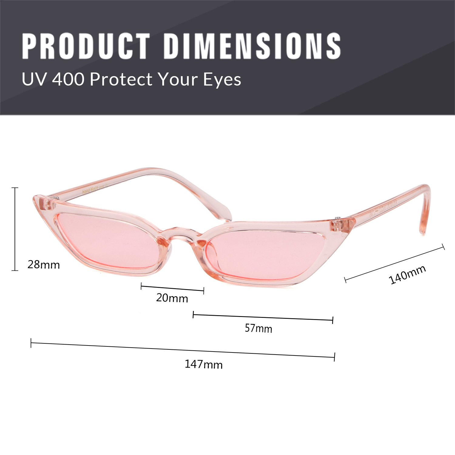 Vintage Sunglasses Women Cat Eye Candy lens Valentine's Day gift by ADEWU (Image #5)