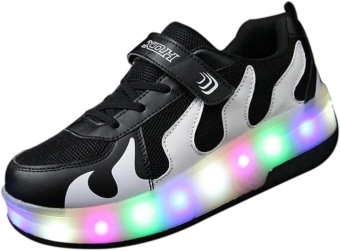 Roues QinMM Adulte Enfants Hommes Rouleau SneakersDeux Garçon Fille Roues Gil WYI29EDH