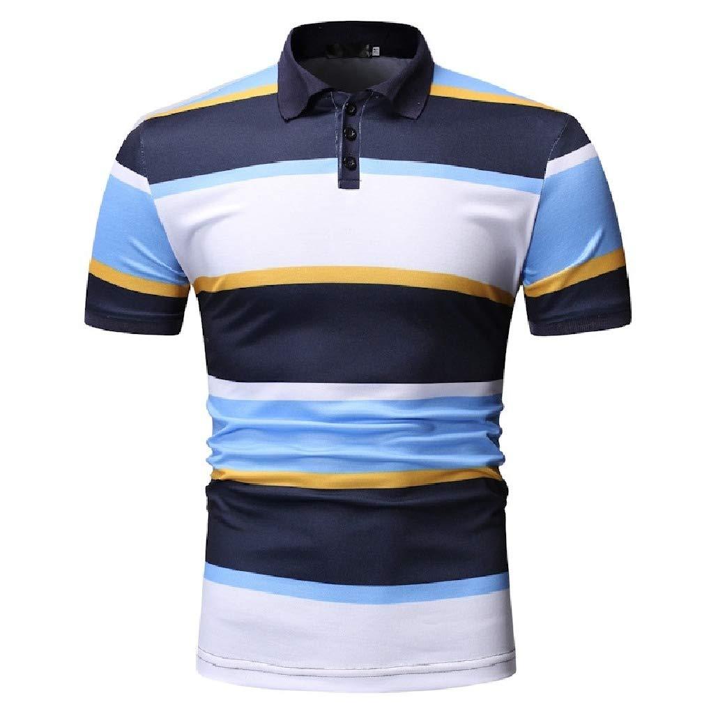 DressU Mens Stripes Causal Short-Sleeve Polo Shirts Contrast Color T-Shirt Top
