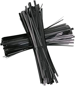 KINMAD 1000Pcs 5 inches Plastic Twist Ties Bag Gift Bag Cable Ties for Party Cello Candy Bags Cake Pops (Black)