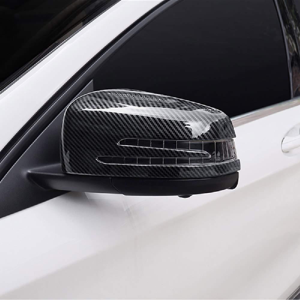 2pcs Carbon ABS Side Door Rearview Mirror Frame Cover Trim Car Accessory For Benz A CLA GLA GLK Class W117 W176 2014-17 DIYUCAR