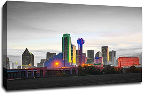 Dallas Touch of Color Skyline 36×24 Gallery Wrapped Canvas Wall Art