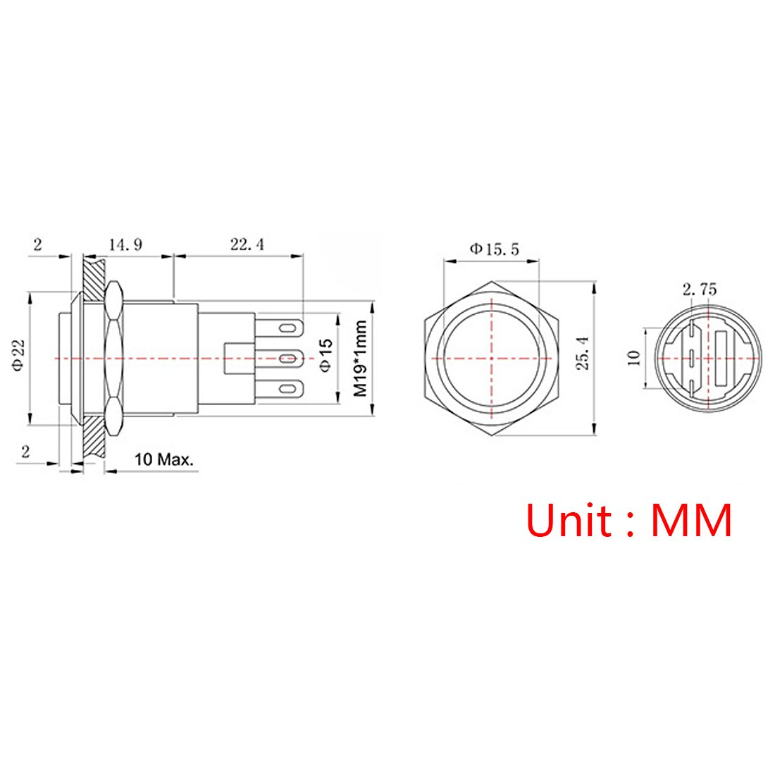 Andux Land Metal Push Button Switches 19mm High Head Momentary 5pcs JSANKG-06