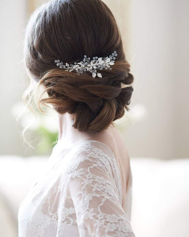 Simsly - Peineta para novia, diseño de flores, color plateado, accesorio para el pelo para mujeres y niñas