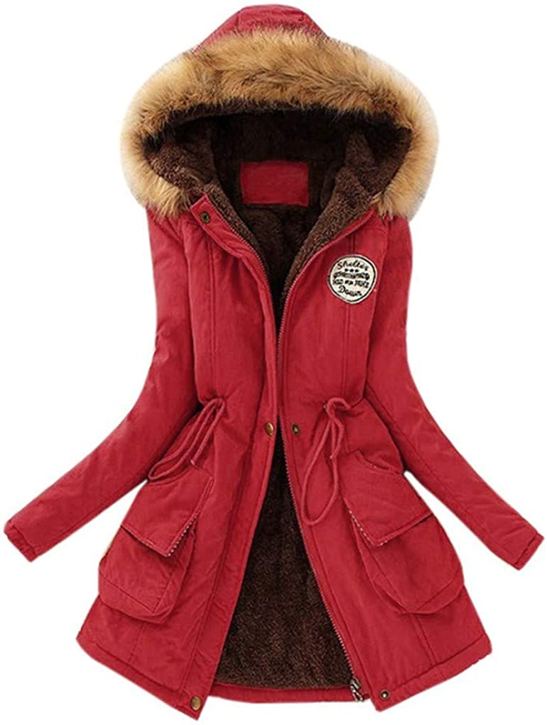 RUIVE Women/'s Warm Coats Faux Fur Collar Winter Thicken Artificial Wool Hooded Winter Outwear Plus Size Jackets