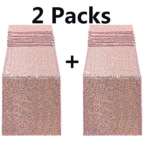 FECEDY 2pcs 12 x 108inch Glitter Rose Gold Sequin Table Runner for Birthday Wedding Engagement Bridal Shower Baby Shower Bachelorette Holiday Celebration Party -