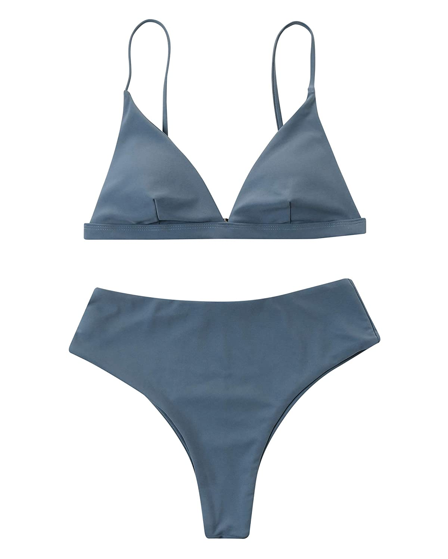 Solid Grey RXRXCOCO Women One Shoulder Bikini Swimsuit High Waist Two pieces Padded Swimwear