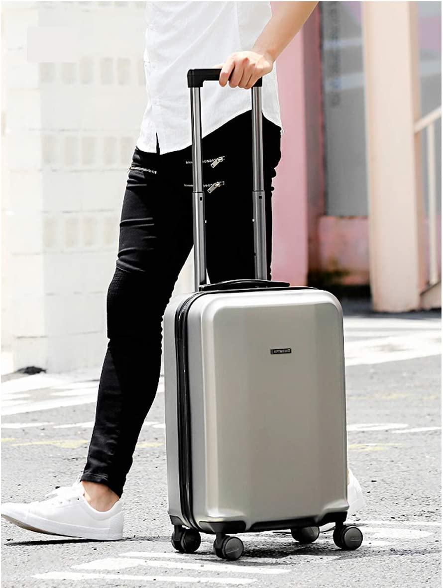 Shengshihuizhong Carry On Luggage Simple and 20//24//28 Spinner Suitcase Silver Latest Style Hard Case Simple Style Color : Metallic, Size : 28