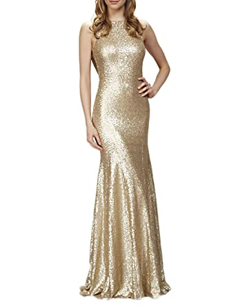 f4743a94ce59 DarlingU Women s Mermaid Bridesmaid Dresses Sparkle Sequined Evening Party  Gowns Backless Champagne 2