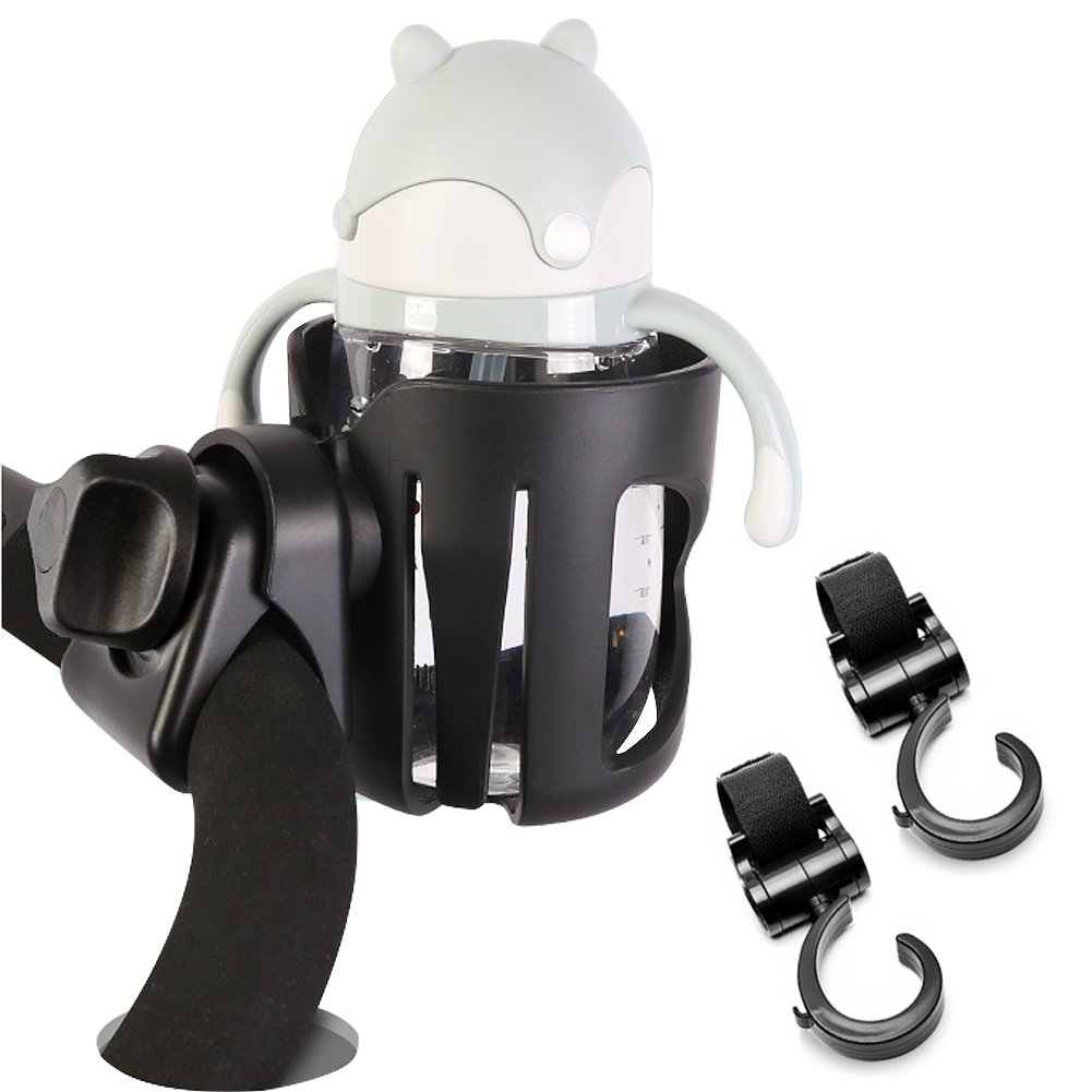 Drink Holder, Stroller Cup Holder and 2 Hooks, 360 Degrees Rotation Cup Holder for Wheelchair, Bicycle, Bike XHAIZ