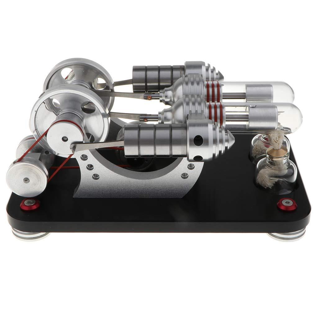 B Blesiya Jeux Expérience Scientifique - Moteur Stirling à Double Volant 600 TR / Min Moteur Combustion Interne