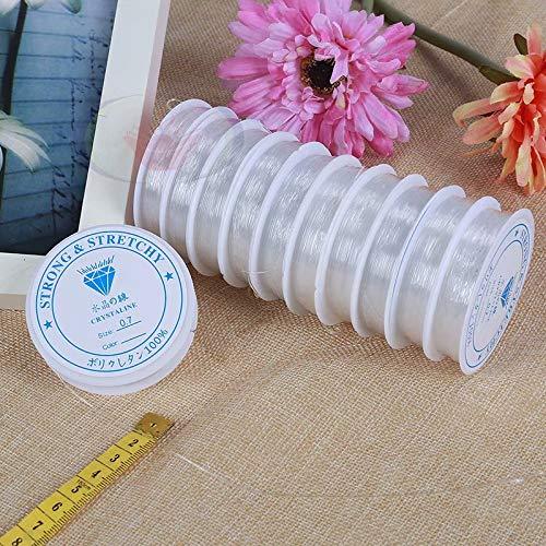 0,7 mm 11m par Rouleau LINSUNG 10 Rouleaux de Ligne de Peche Fil solide extensible en cristal /élastique