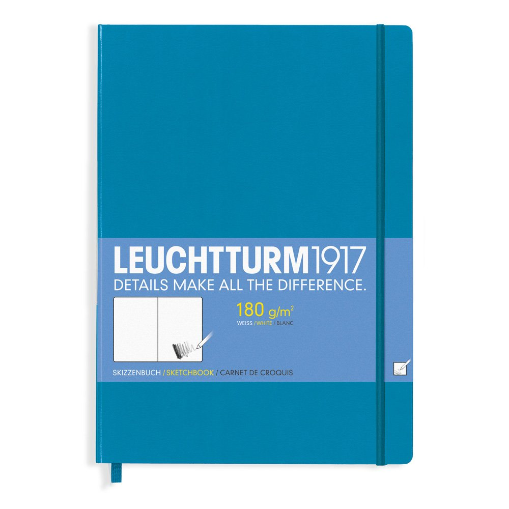 Leuchtturm1917 344675 Master A4+ Sketchbook Pure White, Extra Thick, 180 GSM Paper, 96 Pages Azur