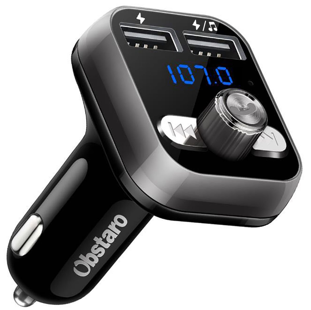 OBSTARO FM Transmitter, Bluetooth Fm Transmitter for car, Wireless in-car Bluetooth Receiver MP3 Player Stereo Radio Adapter car kit with Dual USB Ports,Hands Free for Iphone, Ipad,Smartphones