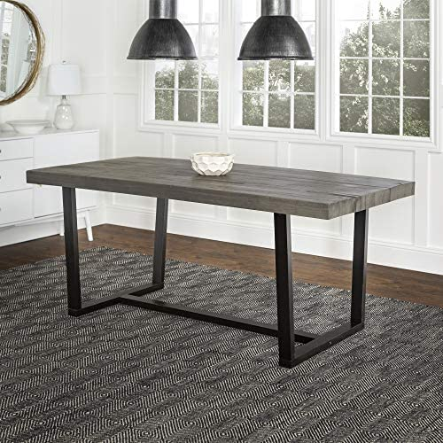 Walker Edison Andre Modern Solid Wood Dining Table 72 Inch Grey Table Chair Sets Amazon Com