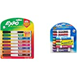 EXPO 1944748 Magnetic Dry Erase Markers with Eraser, Fine Tip, Assorted Colors, 8-Count & Low Odor Dry Erase Markers, Chisel