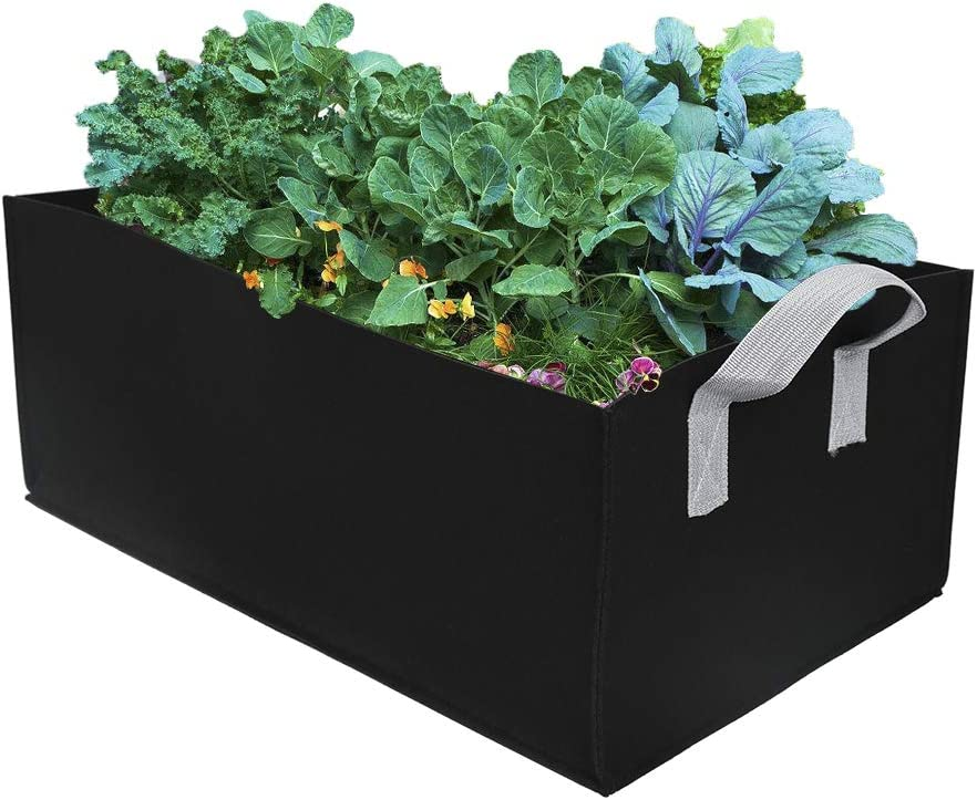ZAILHWK Garden Growing Bags,Felt Plant Bags with Handles, Fabric Pots,Square Planting Container,Grow Bags Indoor Garden Planter Pot for Plants, Vegetables Fruits Size 60X30X20cm