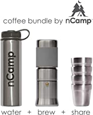 nCamp Camping Coffee Kit, Espresso Style, Includes Coffee Maker, Stainless Steel Water Bottle, and 4 Pack of Coffee Cups - B