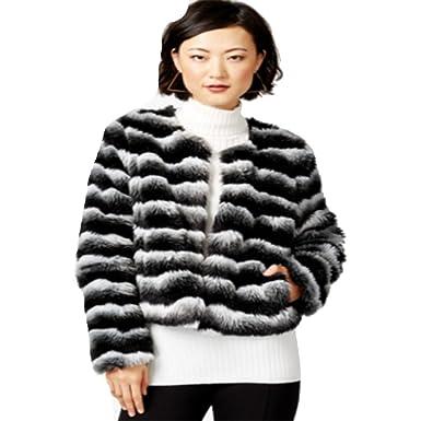 Bar Iii Womens Striped Faux Fur Jacket Black White Xxsmall At