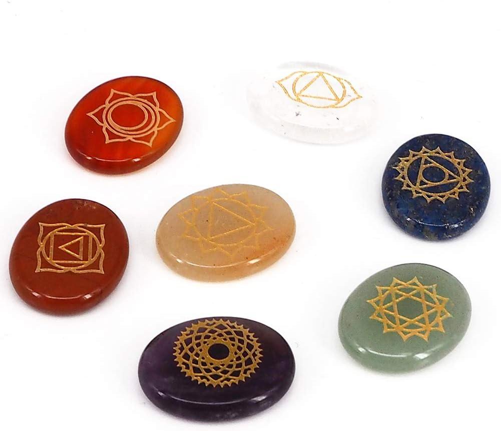 Piedras 7 Chakra Grabado Natural Salud Cuidado Energía Balance Exquisito Cristal Símbolo Holistic Curación