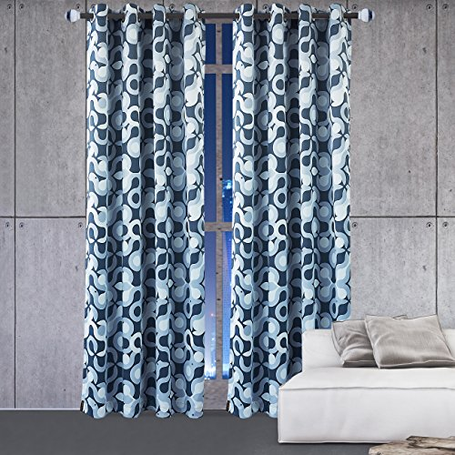 KEQIAOSUOCAI Flame Retardant/Resistant Printed Blackout Room Darkening Color Block 8 Grommet Gray Blue Curtain For Bedroom Living room Decorative Curtains (52X84Inch,1Panel)