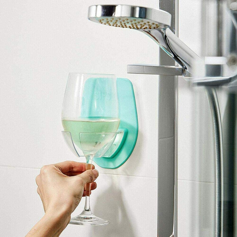 Bar Wine Glass Holder Plastic Bedside Wall Display Stand for the Bath Shower NC