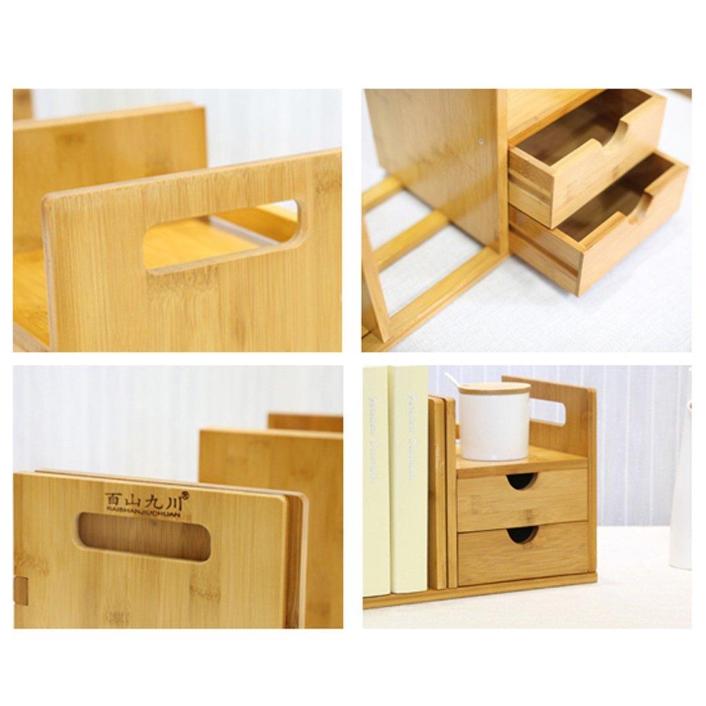 ZWJXF Xufei Puede ser pequeña estantería retráctil retráctil retráctil en el Escritorio, Escritorio de Oficina Simple estantería de Estante para Libros, 2 cajones (bambú Ambiental) - Hermoso y práctico 5d3c83