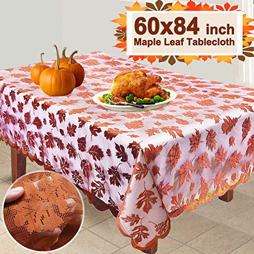 iGeeKid Thanksgiving Maple Leaf Tablecloth 104x60'' Large Rectangular Lace Maple Tablecloth Thanksgiving (Large Size) (M)
