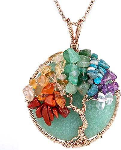 One of a Kind Copper Wire Wrap Necklace Banded Agate Tree of Life Pendant Heady Pendant Green Gemstone