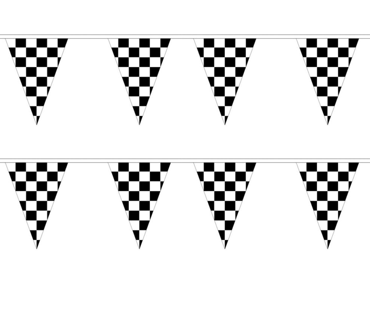 10m BLACK & WHITE CHEQUERED BUNTING FLAG 30CM x 20CM F1 RACING BANNER REDSTAR