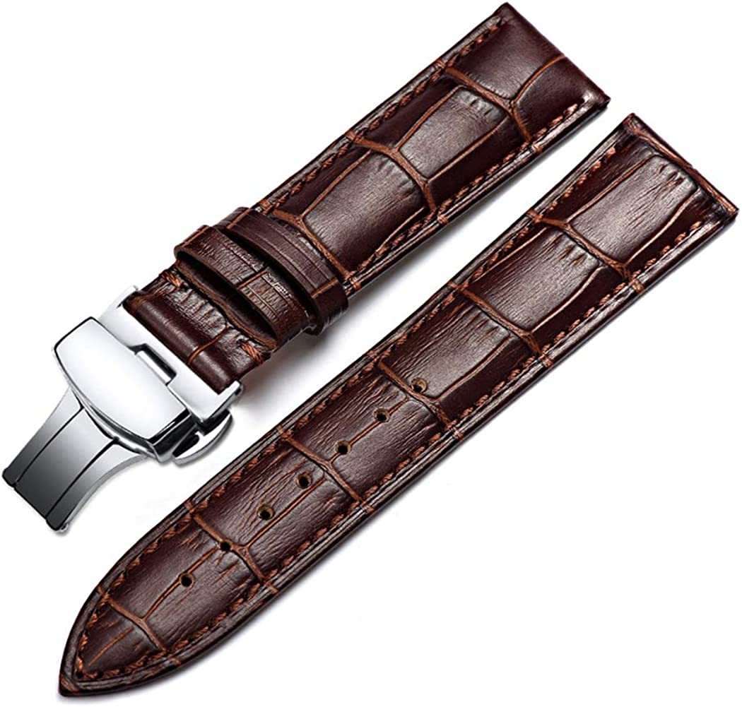 omyzam Correa de reloj de piel, accesorio deportivo para hombre, elegante cierre desplegable de acero inoxidable, hecha a mano, 14 mm16 mm18 mm20 mm 22 mm