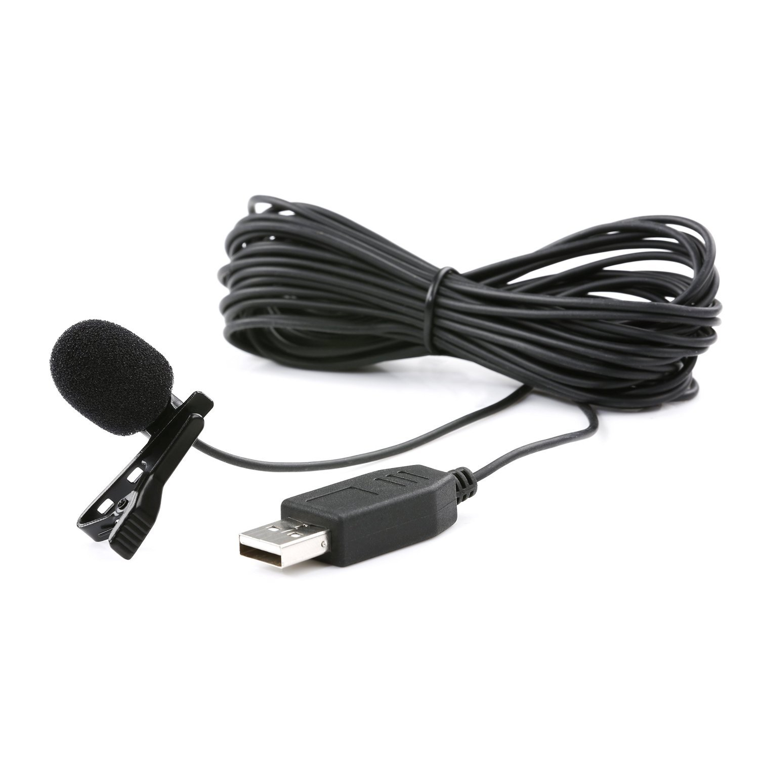 Movo M1 USB Lavalier Lapel Clip-on Omnidirectional Condenser Computer Microphone for PC and Mac (20' Cord) USB-M1