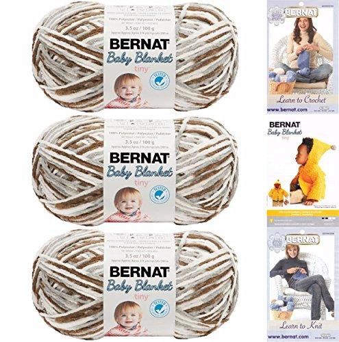 (Bernat Baby Blanket Tiny 3 Pack 100 Percent Polyester Gauge Medium 4 Worsted Bundle (Pebble Path))