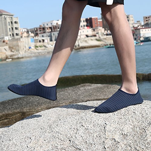 Ceyue Barefoot Water Shoes Breathable Water Sport Shoes Non-Slip Aqua Socks Beach Sandals for Men Women Navy 39/40 by Ceyue (Image #4)