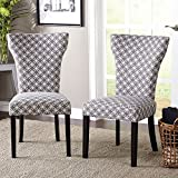 ModHaus Living Contemporary Wood Fabric Upholstered Accent Dining Chairs with Piping Along The Hourglass Shaped Back (Set of 2) – Includes Pen (Gray/Off White)