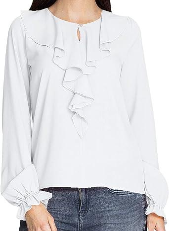 Blusas con Volantes Mujer Blusa Manga Larga Camisas Señora Top Camisa de Gasa Larga Camiseras Oficina Elegantes Camisetas Lisas Chica Blusones Vestir Formales Fiesta Largas Anchas Primavera Verano: Amazon.es: Ropa y accesorios