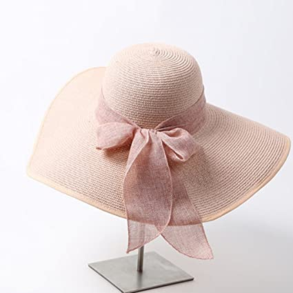0c0092c7a0573 ZUOANCHEN Sun Hat Women s Folable Floppy Hat Big Bowknot Straw Hat Wide  Brim Beach Hat 50+ UPF with Ribbon Knot with Words for Women Grils (Color    C)  ...