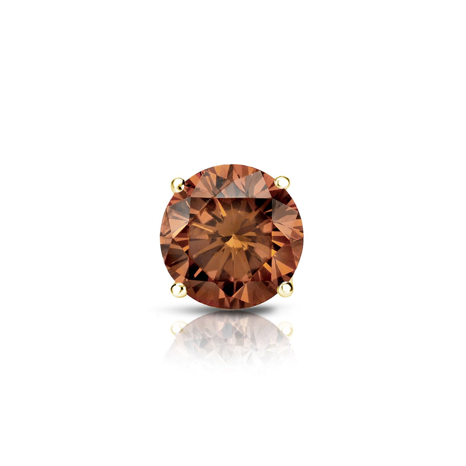 Diamond Wish 14k Yellow Gold Single Stud Round Brown Diamond Earring (1/2 ct, Brown, SI1-SI2) 4-Prong Basket with Push-Back by Diamond Wish (Image #1)