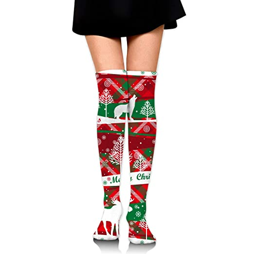 b18362e95 Image Unavailable. Image not available for. Color  Christmas Elk Wolf Tree Snow  Print Womens Knee High Long Socks Stockings