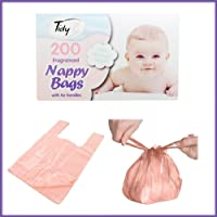 (200 DISPOSABLE BABY) - BOX 200 DISPOSABLE BABY PERFUMED FRAGRANCED HYGENIC NAPPY BAGS SACKS TIE HANDLE