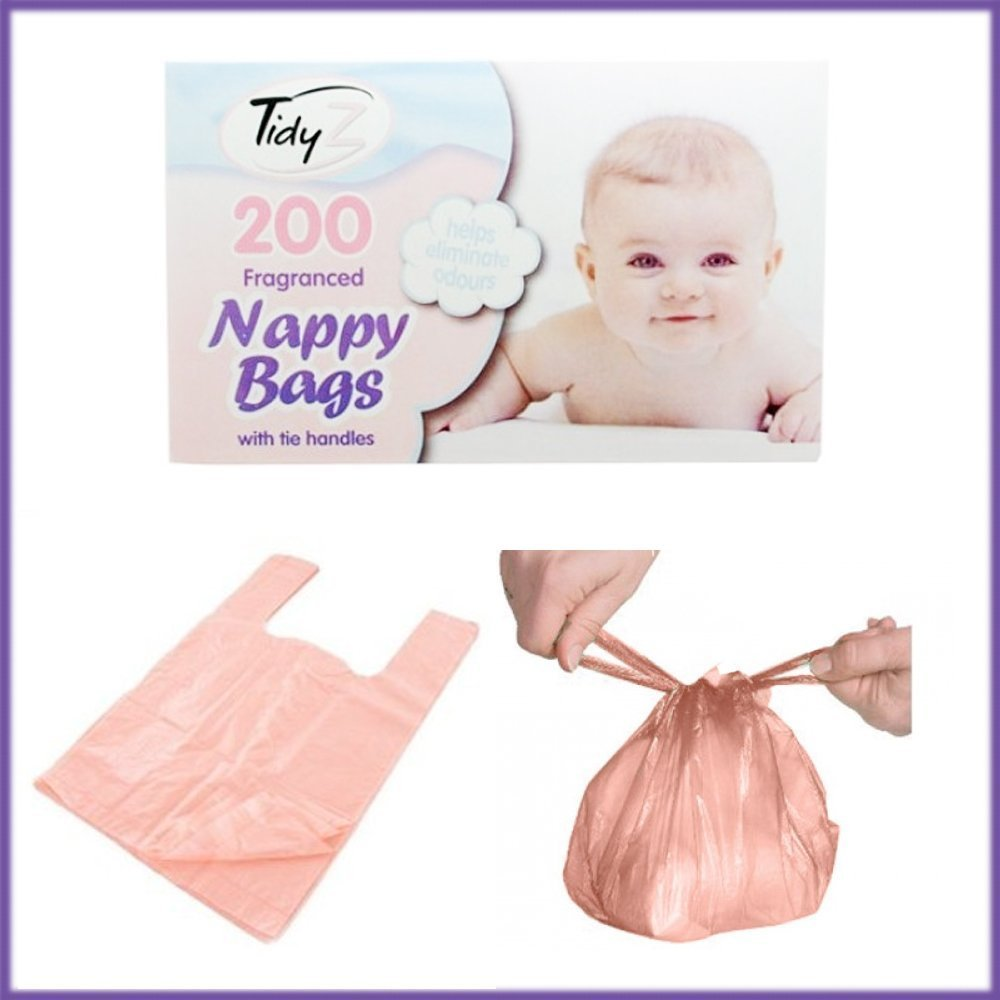 Disposable Baby Nappy Bags Fragranced 200 Nappy Sacks Hygienic Sack Tie Handle