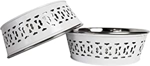 American Pet Supplies Set of 2 Deep Feeder Modern Farmhouse Bowls for Puppies and Dogs