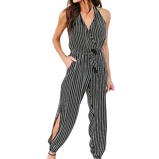 bdabe2db0fc1 Amazon.com  Cuekondy Women Summer Casual Stripe Print Long Pants Jumpsuit V  Neck Halter Neck Party Clubwear Romper Playsuit  Clothing