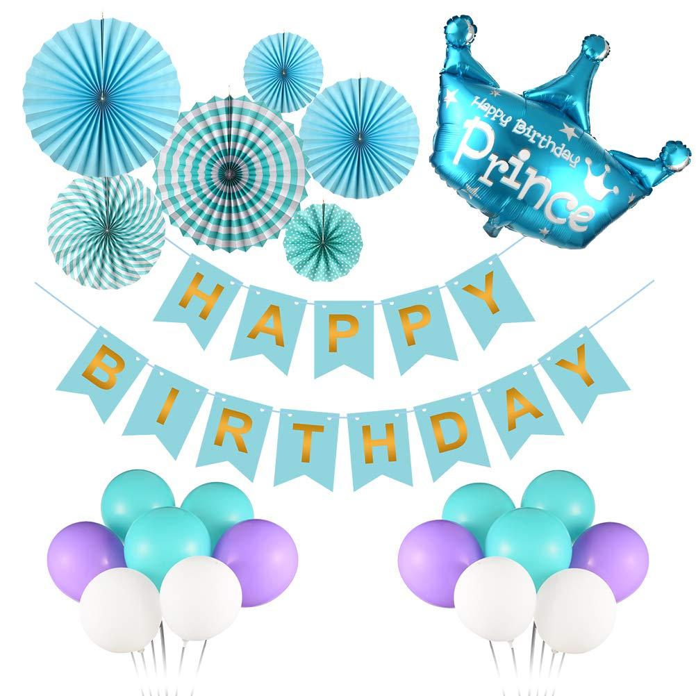 Triwol Boy Blue Birthday Party Decorations For 1st 2nd 13th 16th 18th Bday Decor