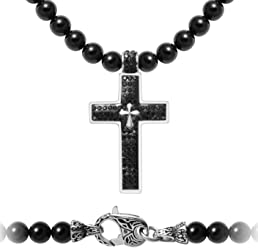 WESTMIAJW Mens Stainless Steel Silver Cross Necklace Chain Bracelet Sets 55cm//60cm//70cmx8mm