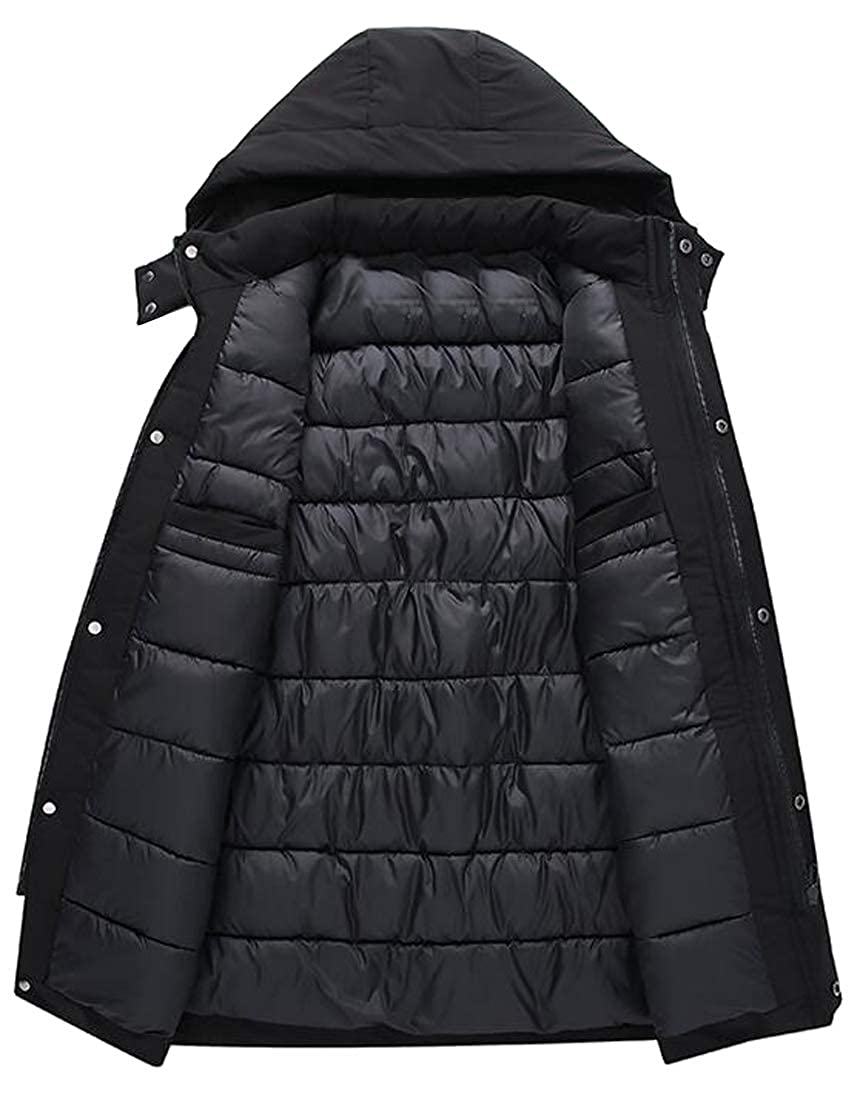 WAWAYA Mens Hooded Warm Winter Overcoat Solid Down Quilted Jacket Coat Outwear